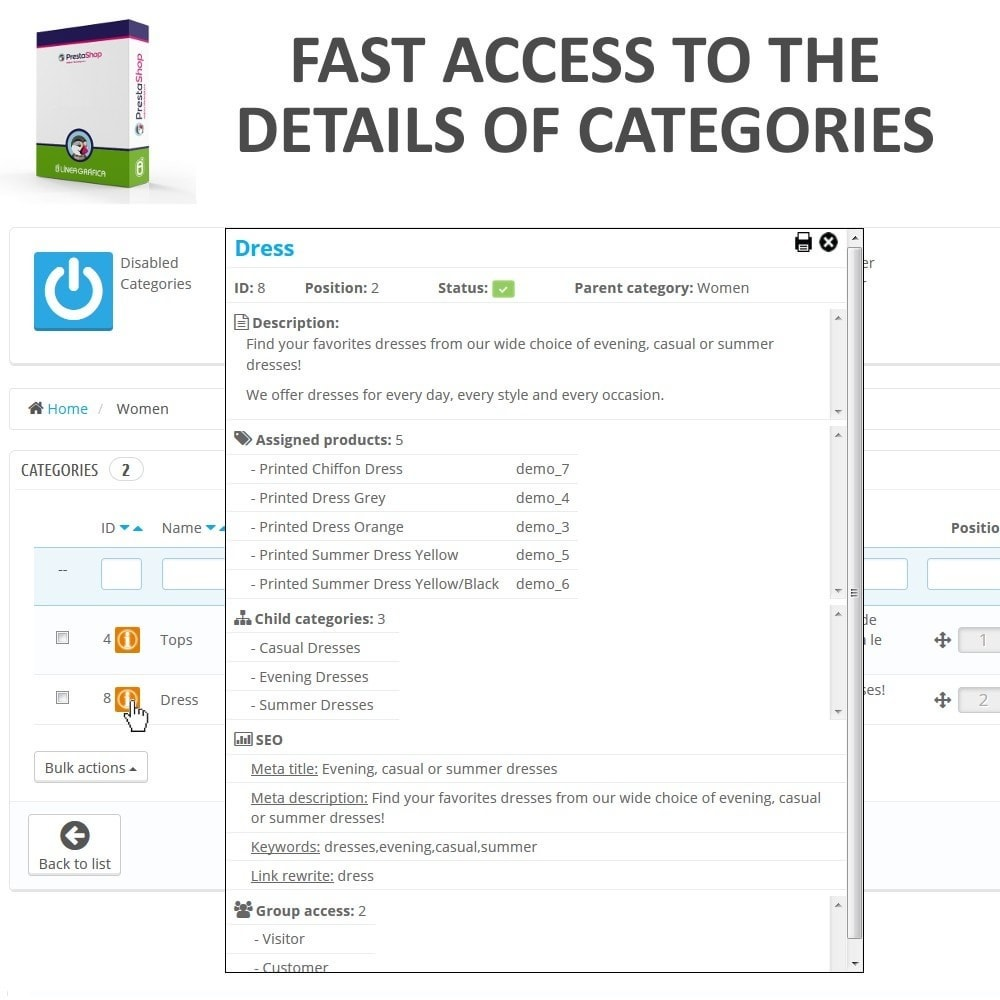 module - Fast & Mass Update - Fast Access to Category Details - Quick View / Overview - 1