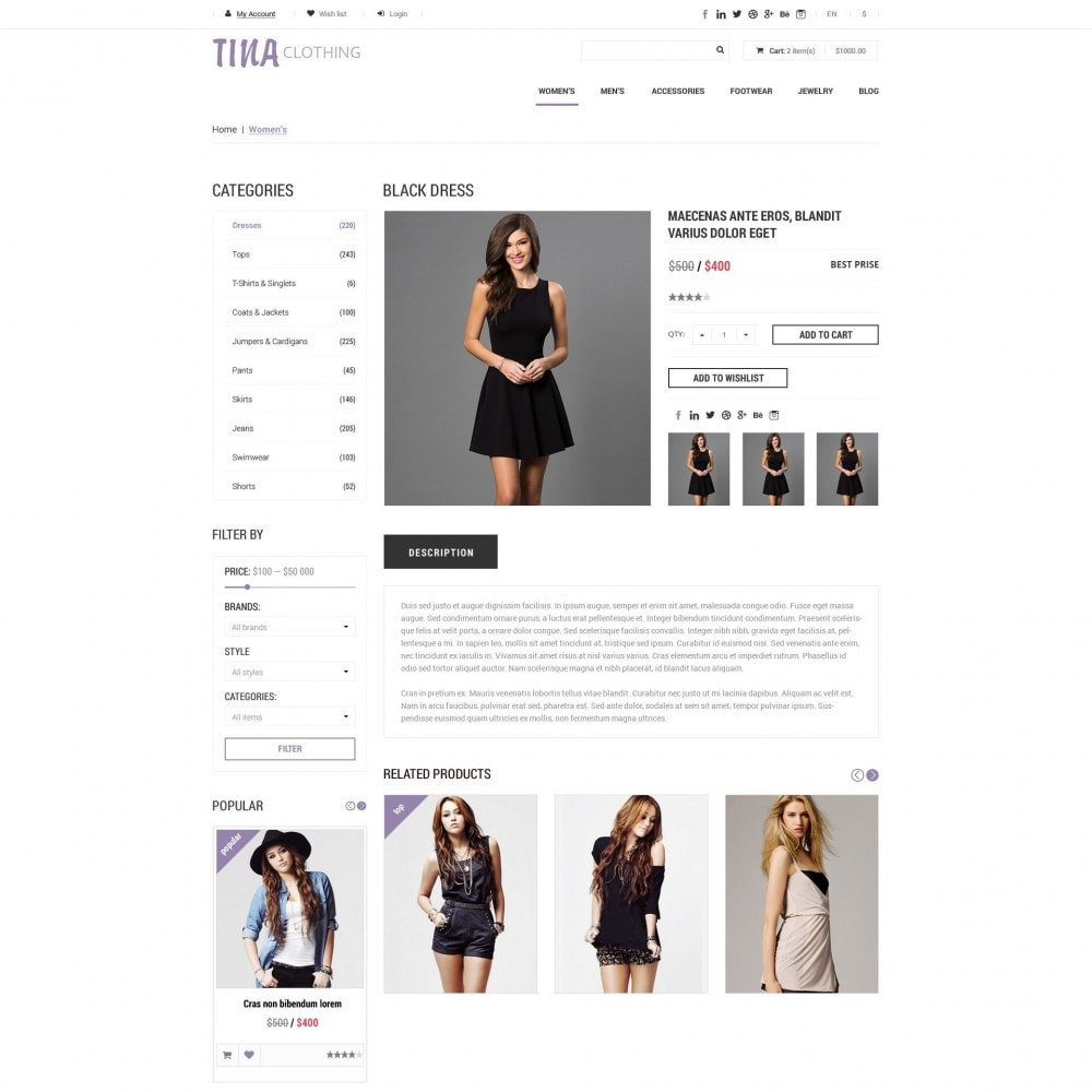 theme - Fashion & Shoes - Tina - Clothing Shop - 2