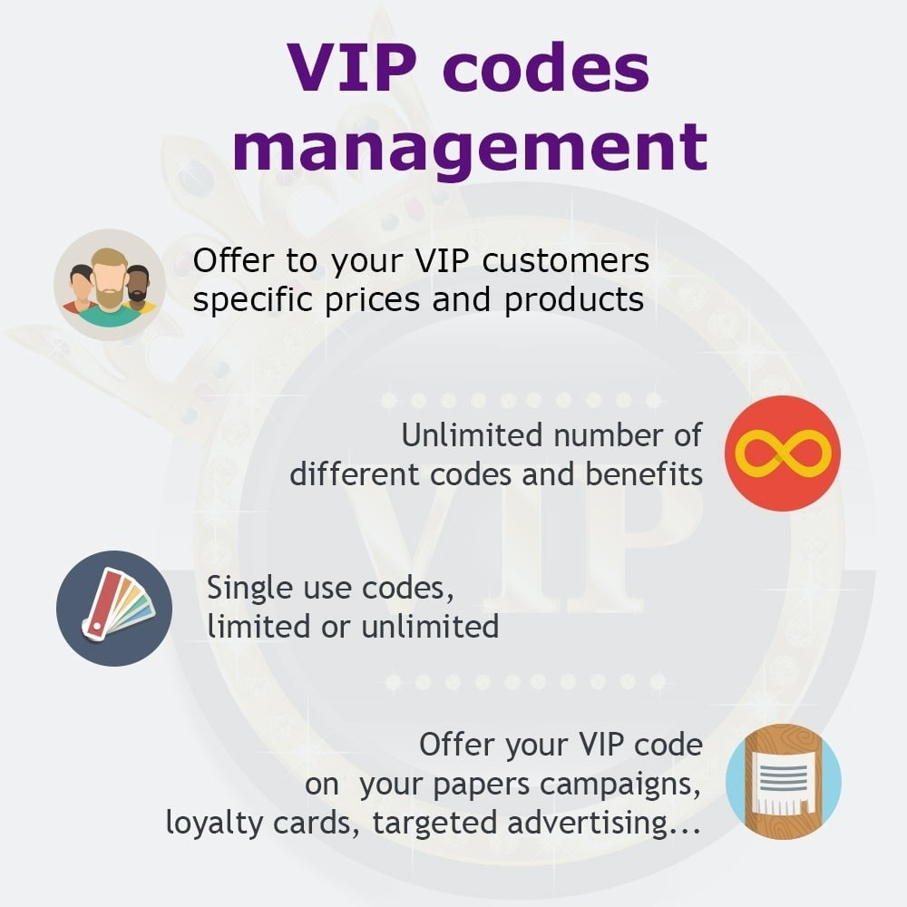 module - Empfehlungs- & Kundenbindungsprogramme - VIP codes management - 1