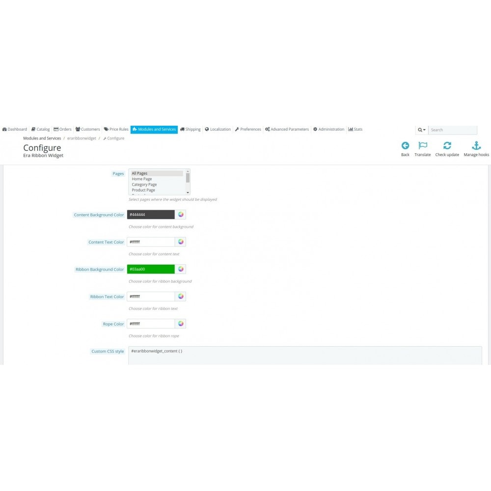 module - Personalisering van pagina's - Era Ribbon Widget - 5