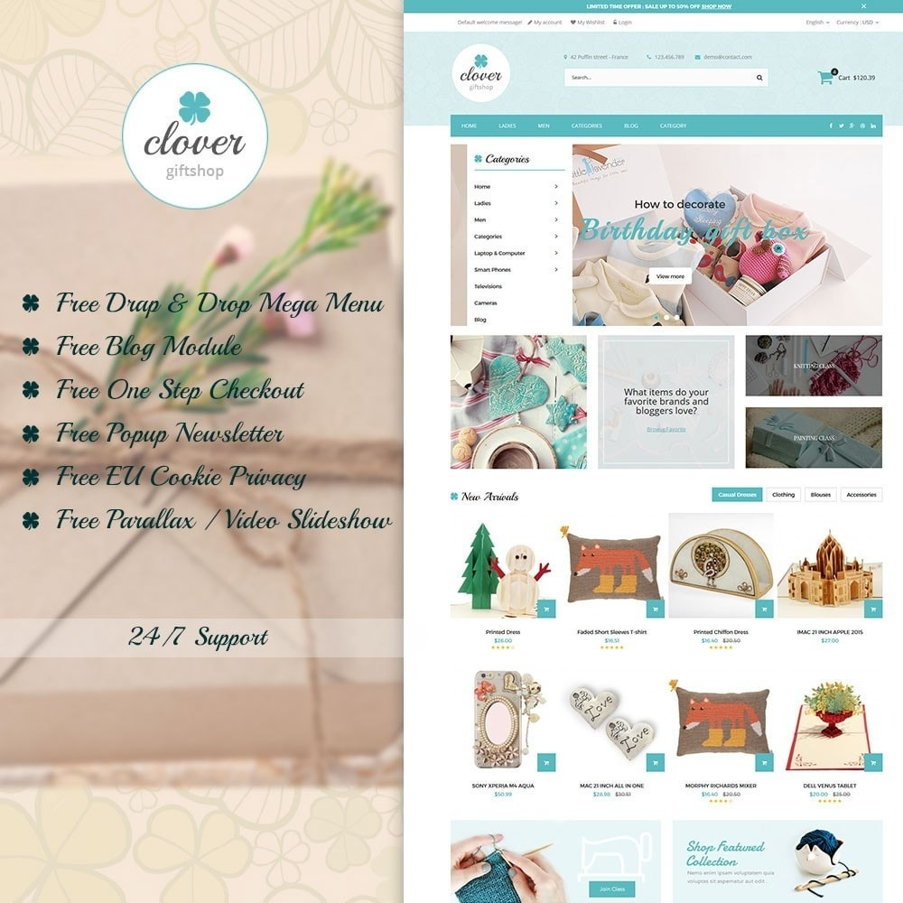 theme - Gifts, Flowers & Celebrations - Clover Handmade Giftshop - 1