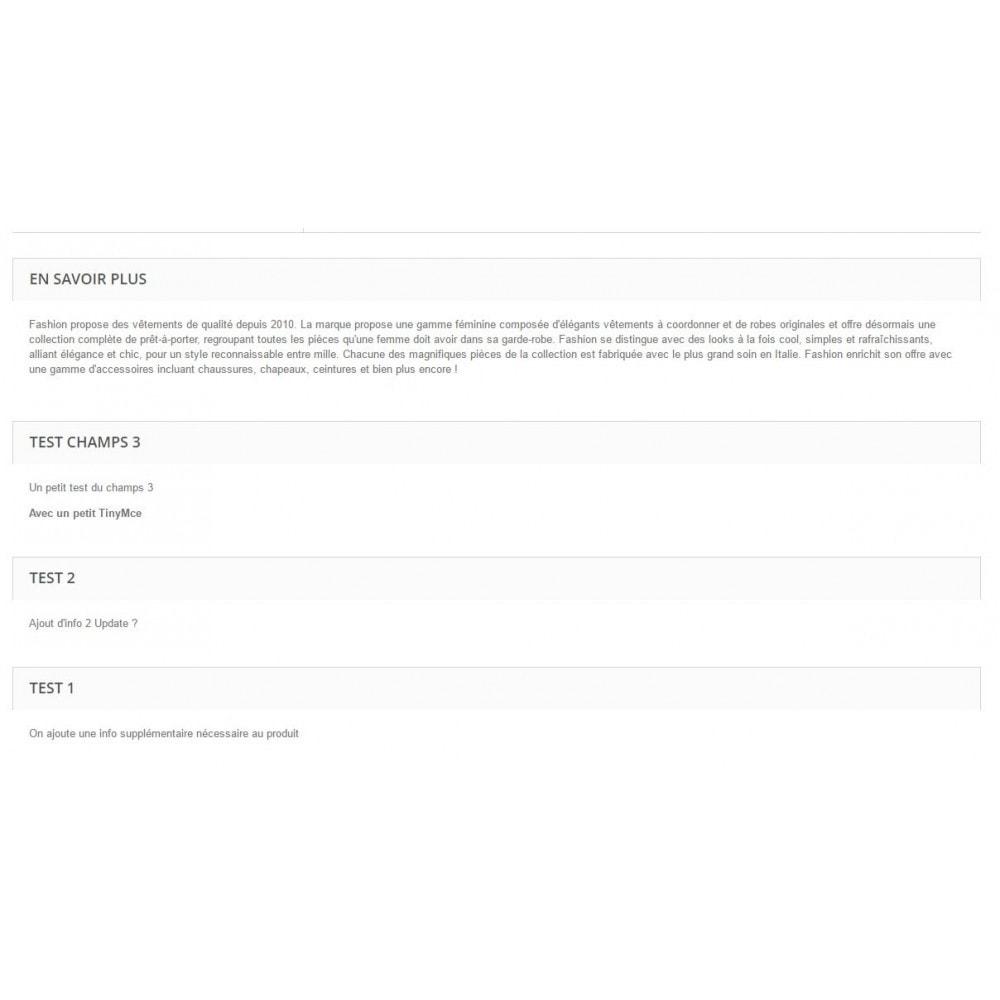 module - Information supplémentaire & Onglet produit - Champs additionnel fiche produit - 4