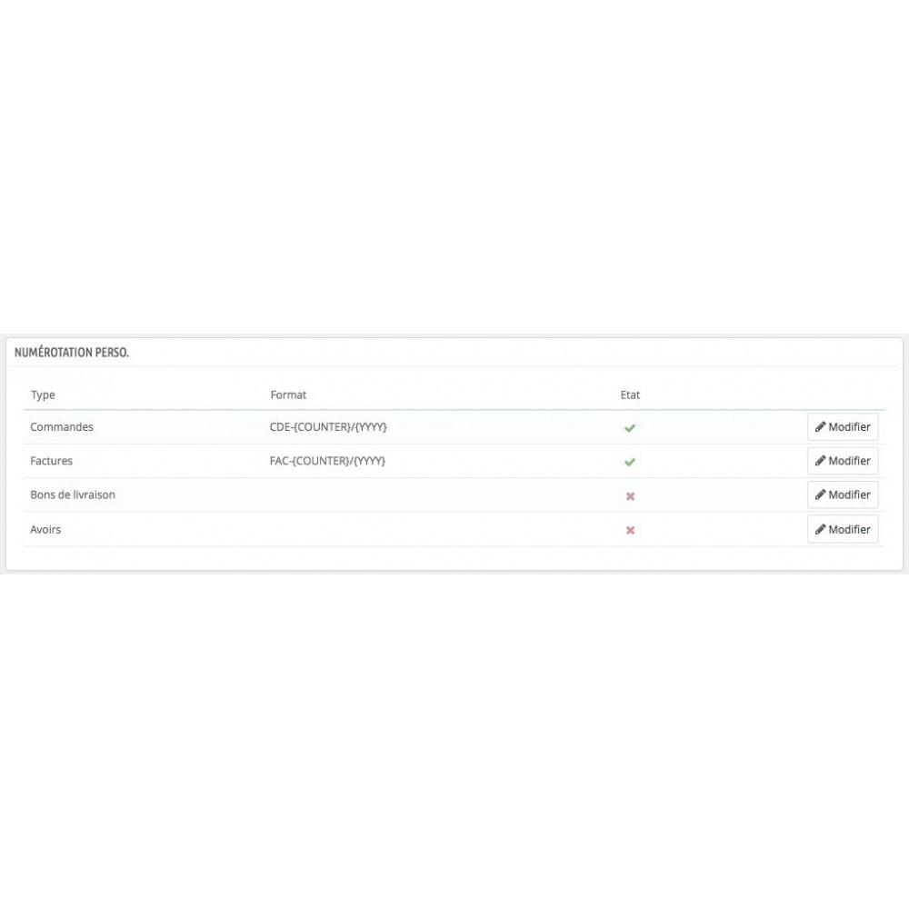 module - Comptabilité & Facturation - Numéro facture, Numéro commande - multistore + édition - 1