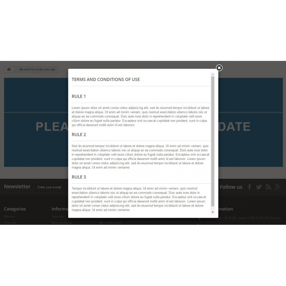 module - Sécurité & Accès - Age verification page / Popup 18+ - 8