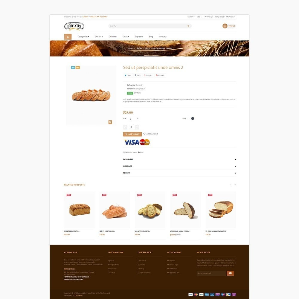 theme - Gastronomía y Restauración - Leo Bread - Food & Loaf PrestaShop Theme - 3