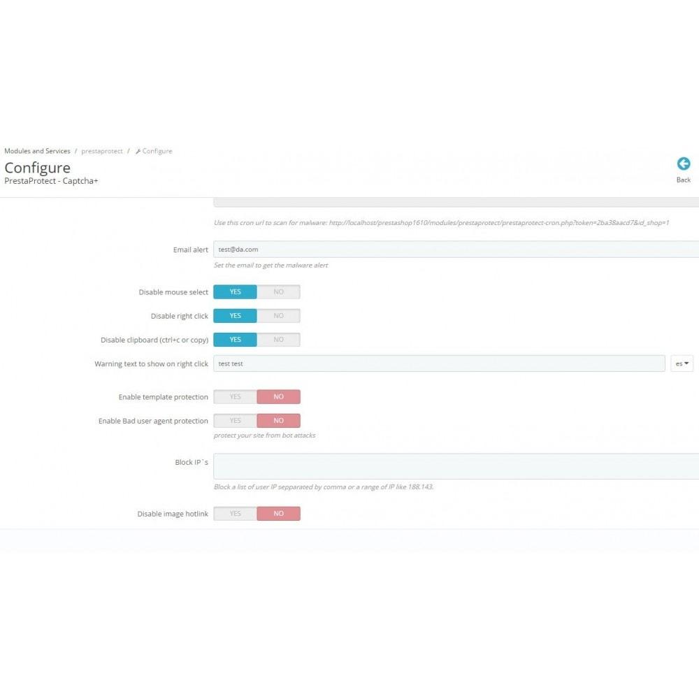 module - Seguridad y Accesos - PrestaProtect Captcha+ / malware scanner / bot blocker - 2