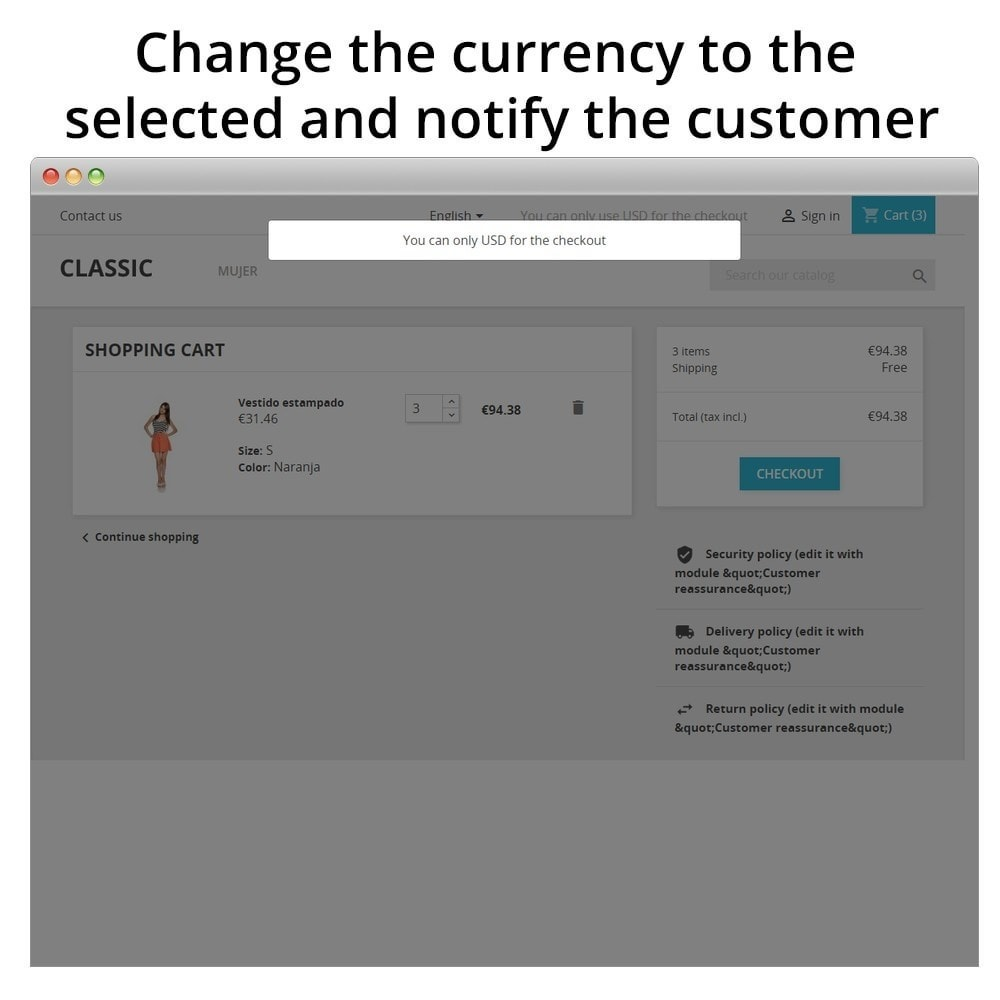 module - Anmeldung und Bestellvorgang - Force Currency at Checkout - 2