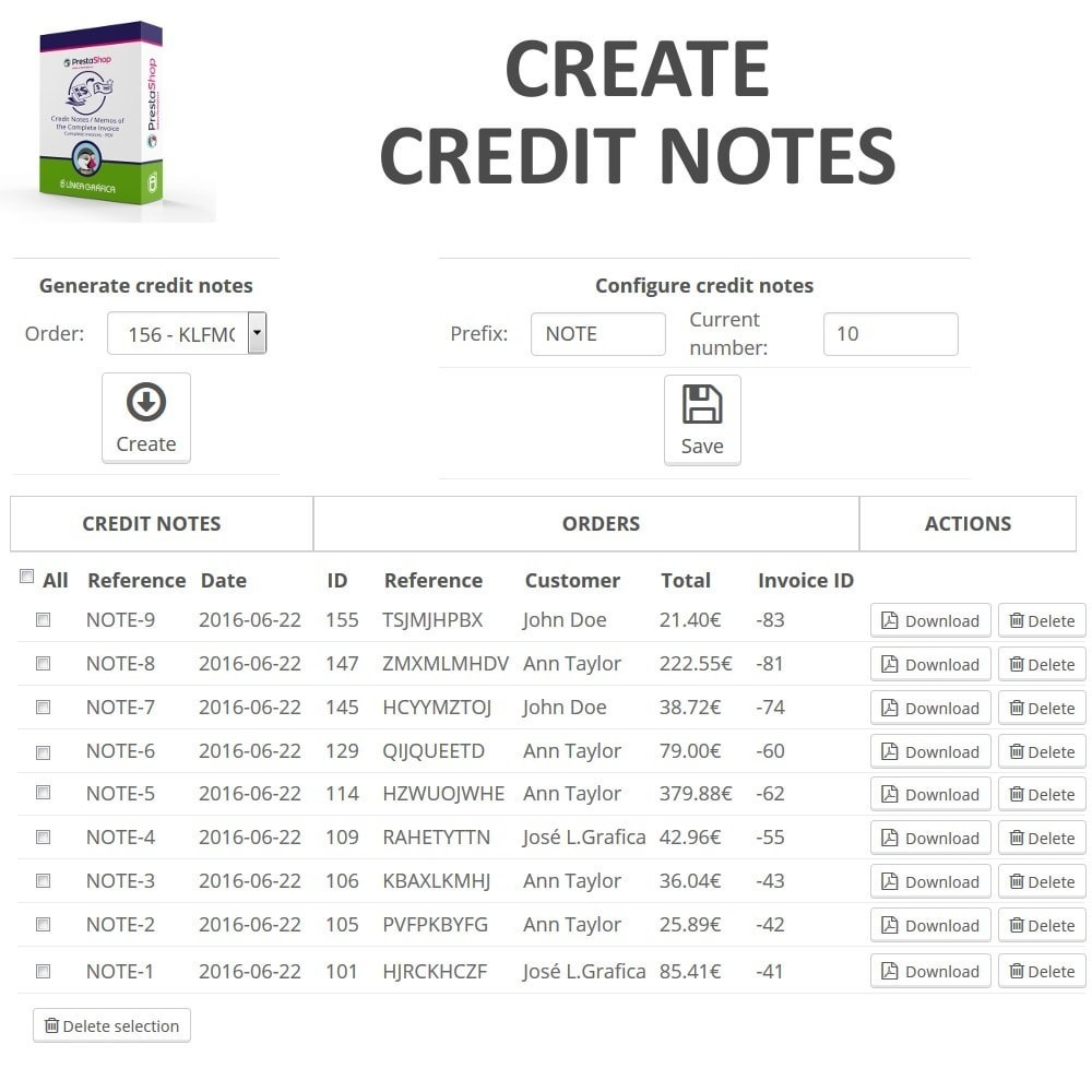 module - Contabilità & Fatturazione - Credit Notes / Memos of the Complete Invoice in PDF - 2