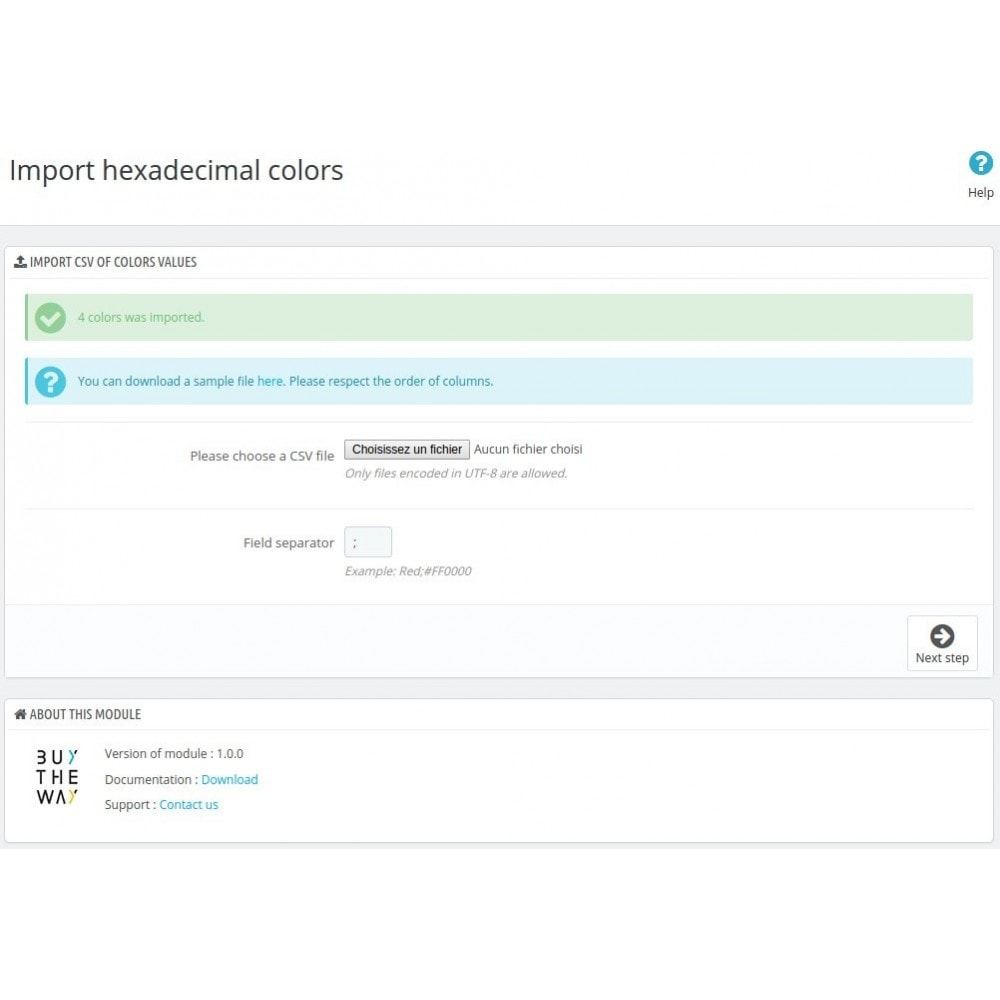 module - Combinations & Product Customization - Import colors for declinations attributes - 3