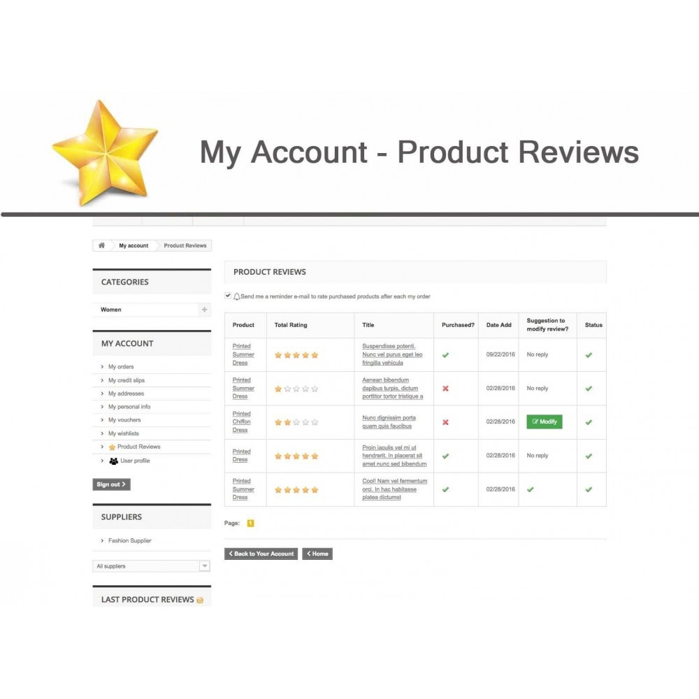 module - Opinie klientów - Product Reviews Advanced PRO + Reminder + User Profile - 15