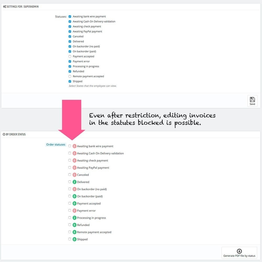 module - Narzędzia administracyjne - Restrict order states by employees profiles - 3