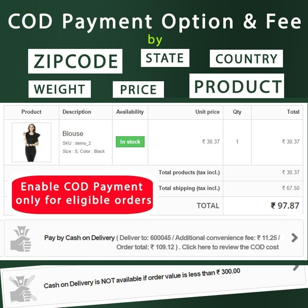 module - Płatność przy obiorze - Cash on Delivery COD & Shipping Fee by Zipcode, Product - 2
