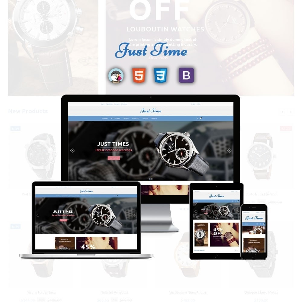theme - Fashion & Shoes - Just Time Watch Store - 1