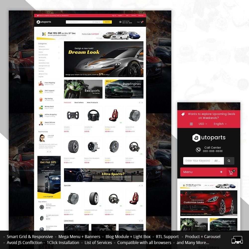 theme - Carros & Motos - Mega Auto Parts - 1