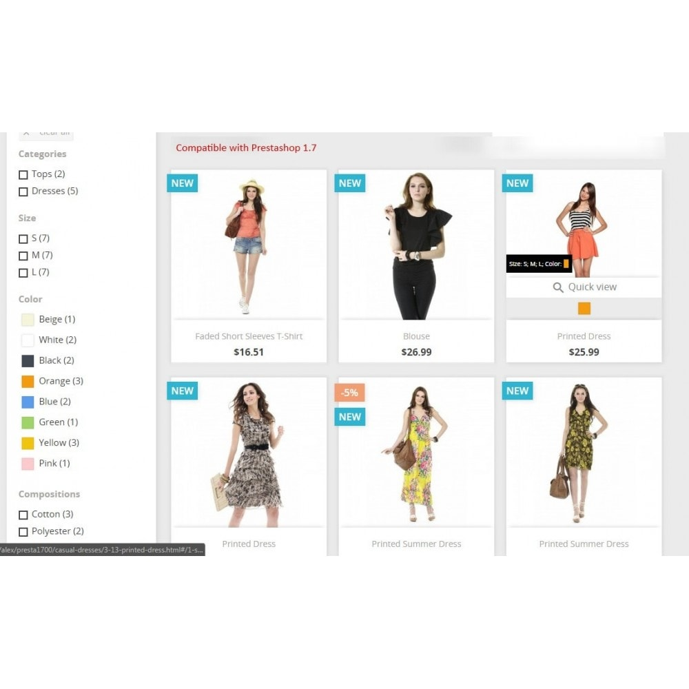 module - Déclinaisons & Personnalisation de produits - Show combinations / Hover product list attributes - 2