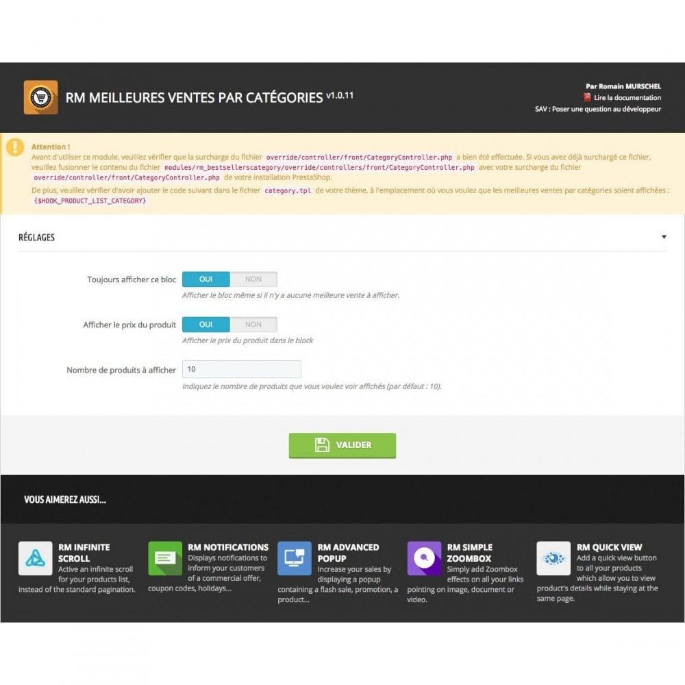 module - Produits en page d'accueil - RM Meilleures Ventes par Catégorie - 7