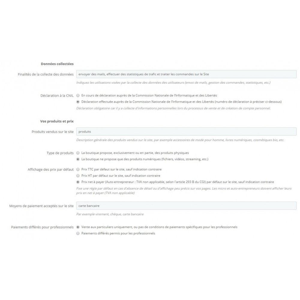 module - Législation - Conditions Générales de Vente, Mentions et Charte CNIL - 3