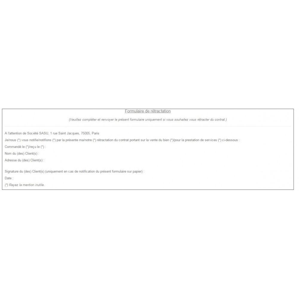 module - Législation (Loi Hamon) - Conditions Générales de Vente, Mentions et Charte CNIL - 7