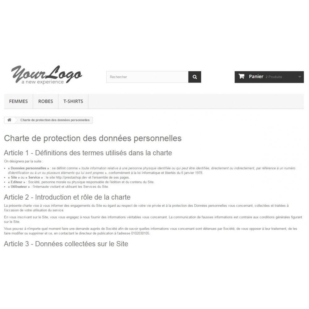 module - Législation (Loi Hamon) - Conditions Générales de Vente, Mentions et Charte CNIL - 9