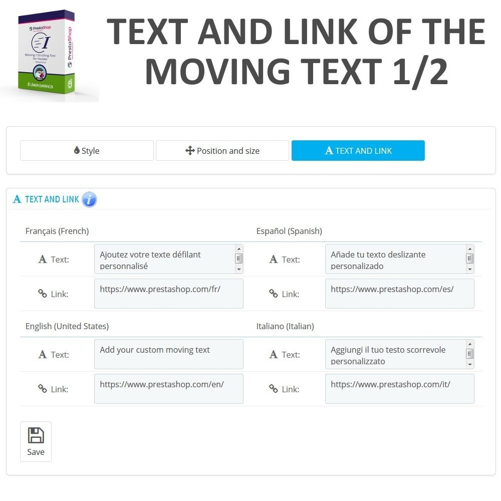 module - Blocks, Reiter & Banner - Moving / Scrolling Text for Header - 7