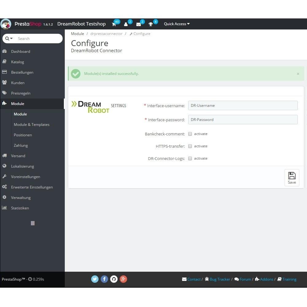 module - Connexion à un logiciel tiers (CRM, ERP...) - DreamRobot Connector - 1