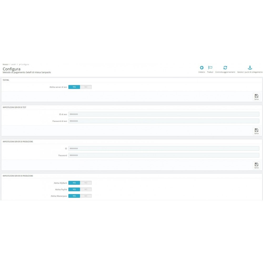 module - Pagamento con Carta di Credito o Wallet - POS Setefi di Intesa Sanpaolo Avanzato Monetaweb - 2