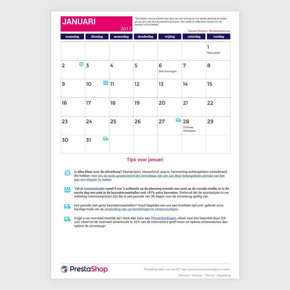 other - Calendrier e-Commerce - Calendrier e-commerce 2017 Pays-Bas - 2