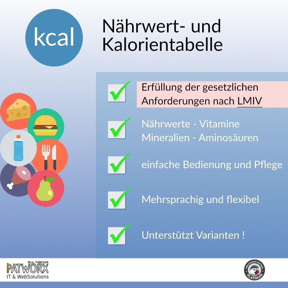 module - Lebensmittel & Restaurants - Nährwert- und Kalorientabelle nach LMIV - 2