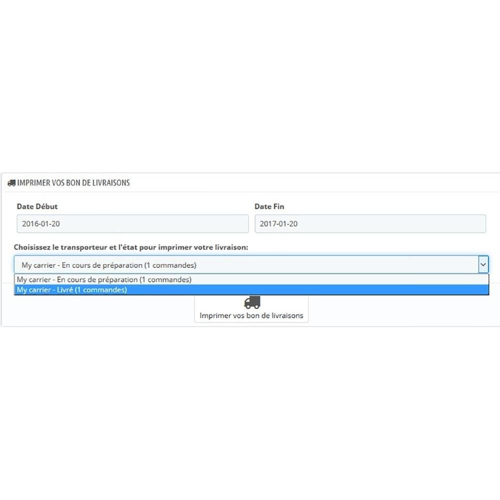 module - Préparation & Expédition - Imprimer vos commandes par transporteur / status - 2