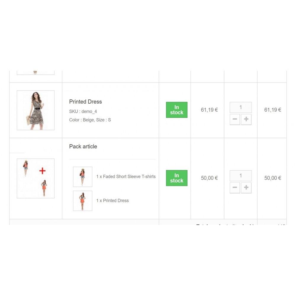 module - Inscription & Processus de commande - Détail du contenu d'un pack dans la panier - 3
