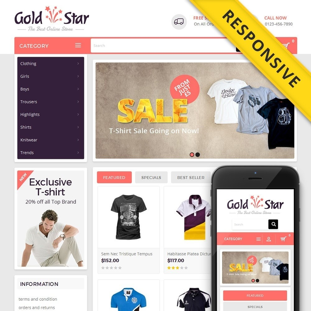 theme - Fashion & Shoes - Gold Star T-Shirt Store - 1