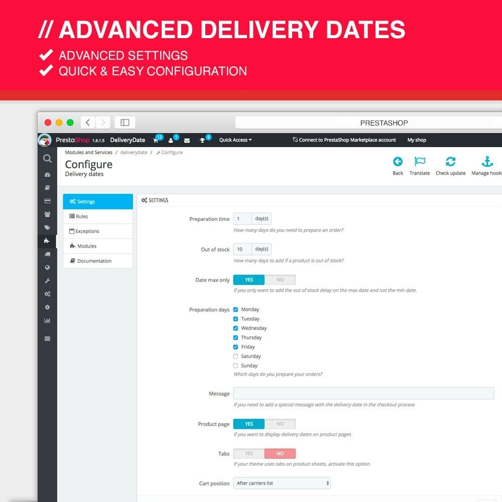 module - Leverdatum - Advanced delivery dates - 2