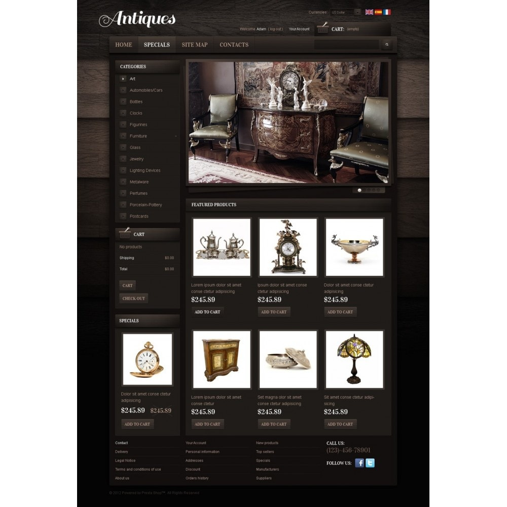 theme - PrestaShop Templates - Antiques Online - 4
