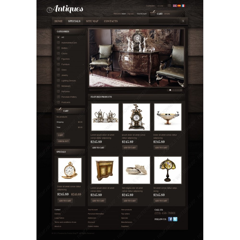 theme - PrestaShop Templates - Antiques Online - 6