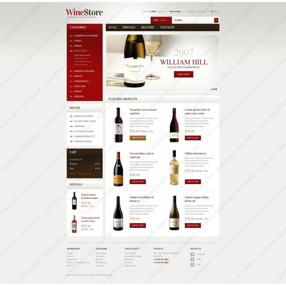 theme - Шаблоны PrestaShop - Wines for Gourmets - 3