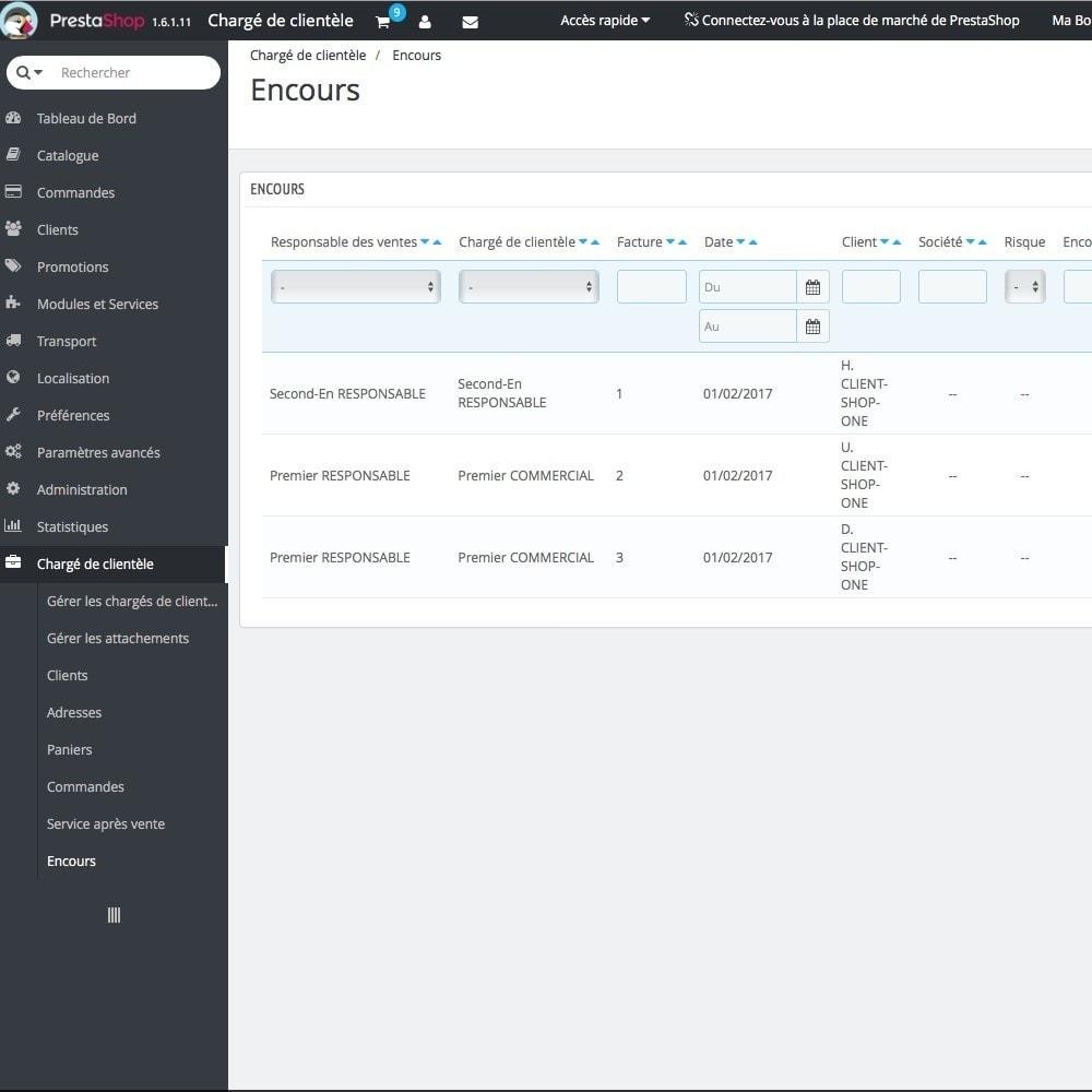 module - Outils d'administration - Chargé de clientèle - 24
