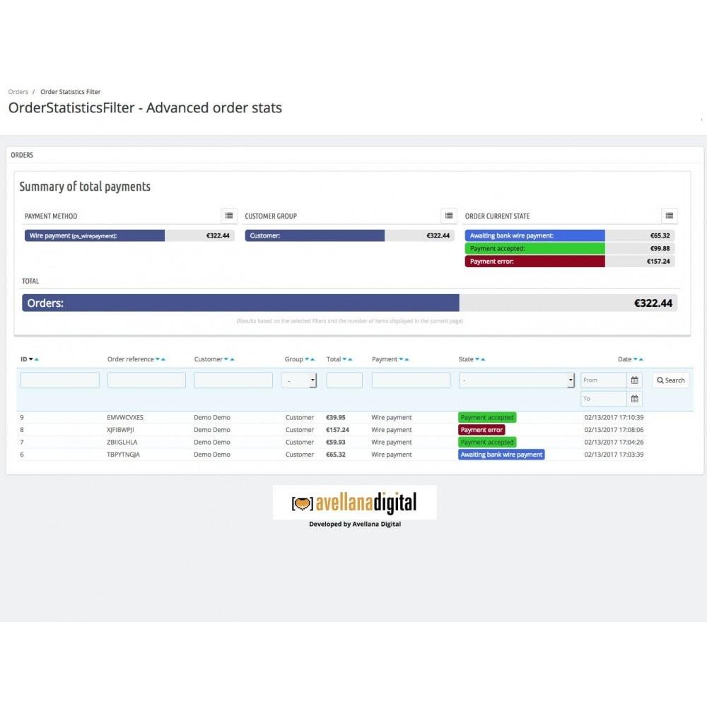 module - Analysen & Statistiken - Order statistics filter - 1