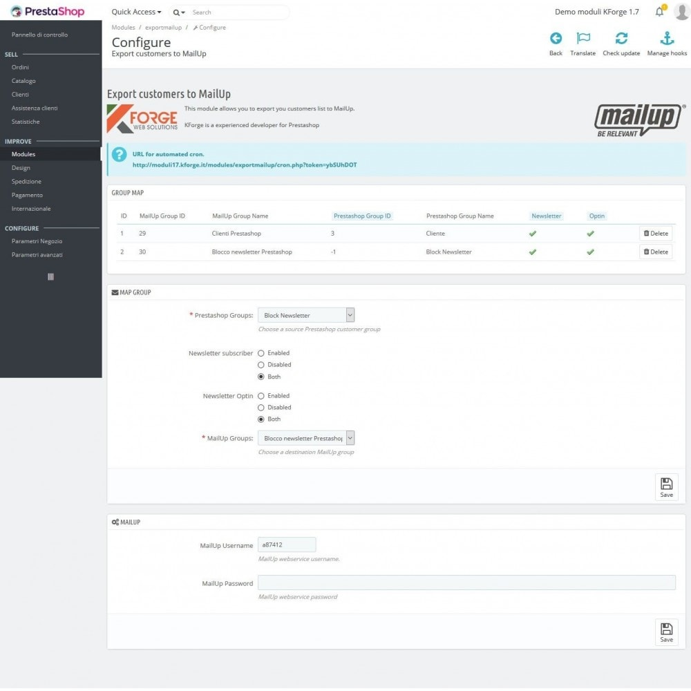 module - Newsletter & SMS - MailUp - Export e sincronizzazione clienti - 1