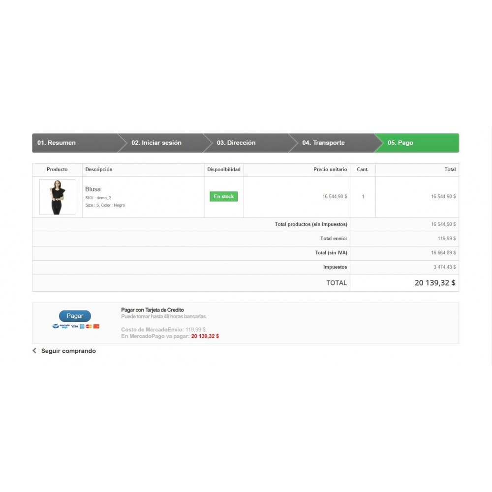 module - Pago con Tarjeta o Carteras digitales - MercadoPago y MercadoEnvios para México - 9