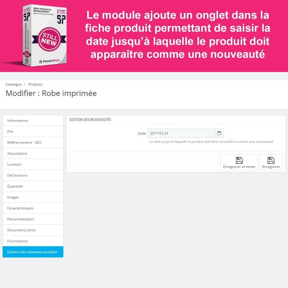 module - Outils d'administration - New Products Management, affichage nouveaux produits - 3