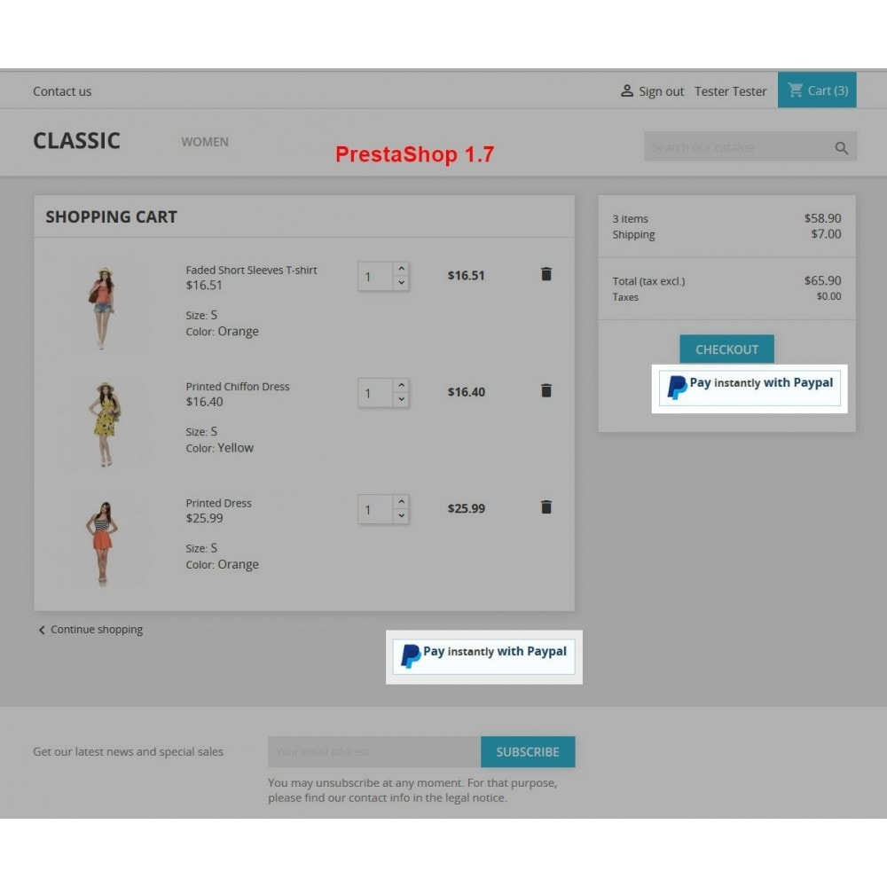 module - Express Checkout Prozesse - Paypal Instant Checkout - 3