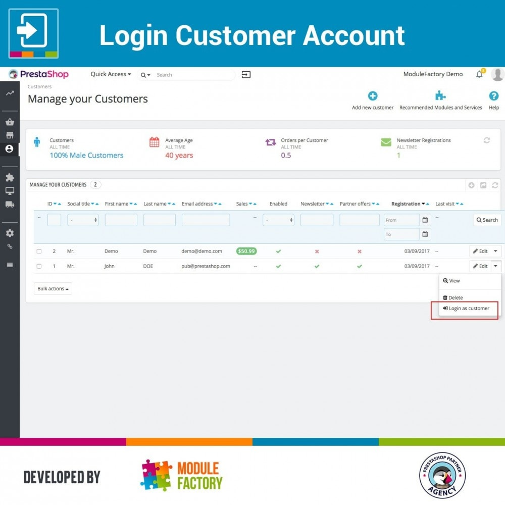module - Service Client - Login Customer Account - 2