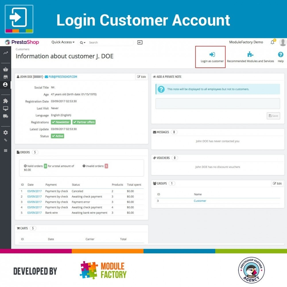 module - Servicio posventa - Login Customer Account - 3