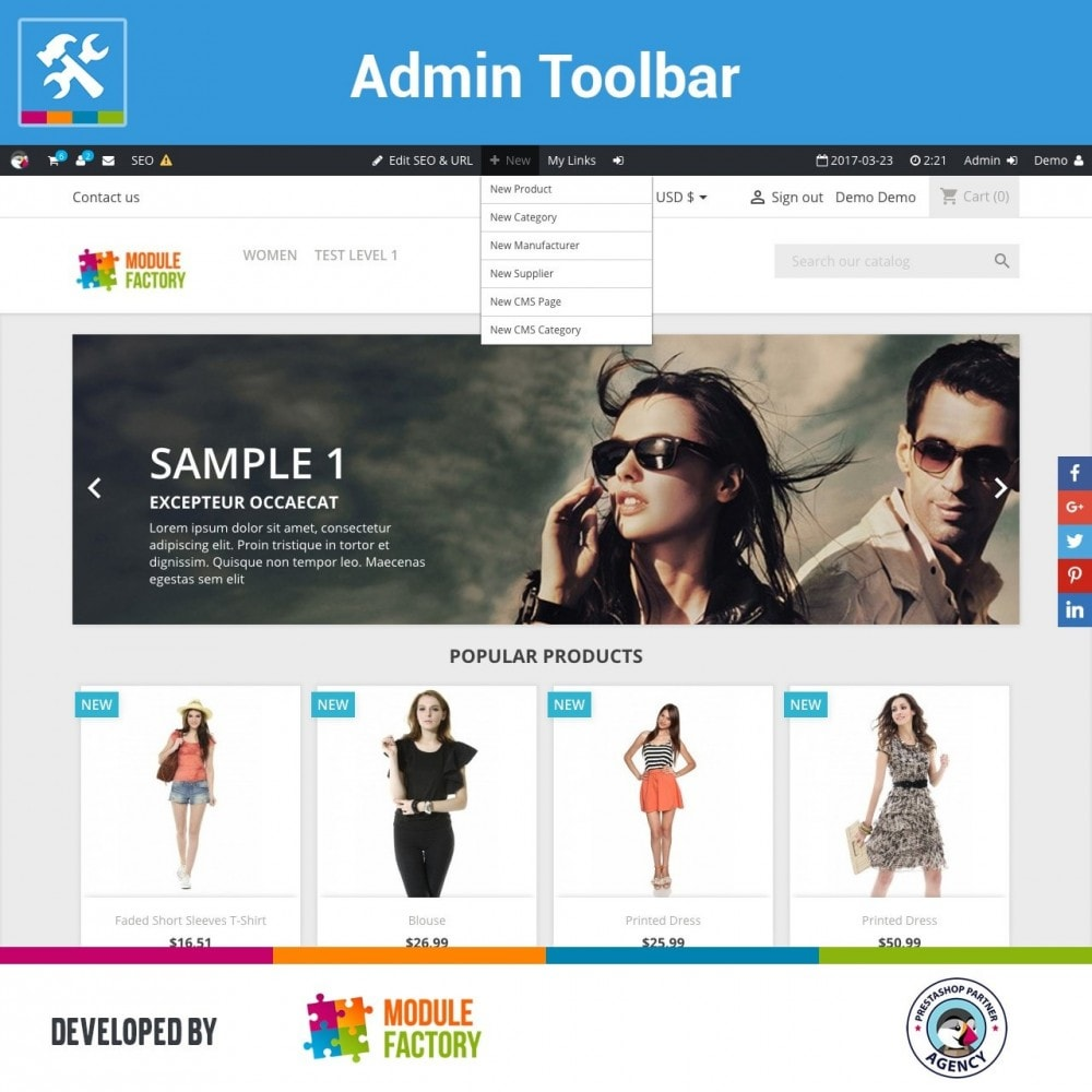 module - Administratieve tools - Admin Toolbar in Front Office - 2
