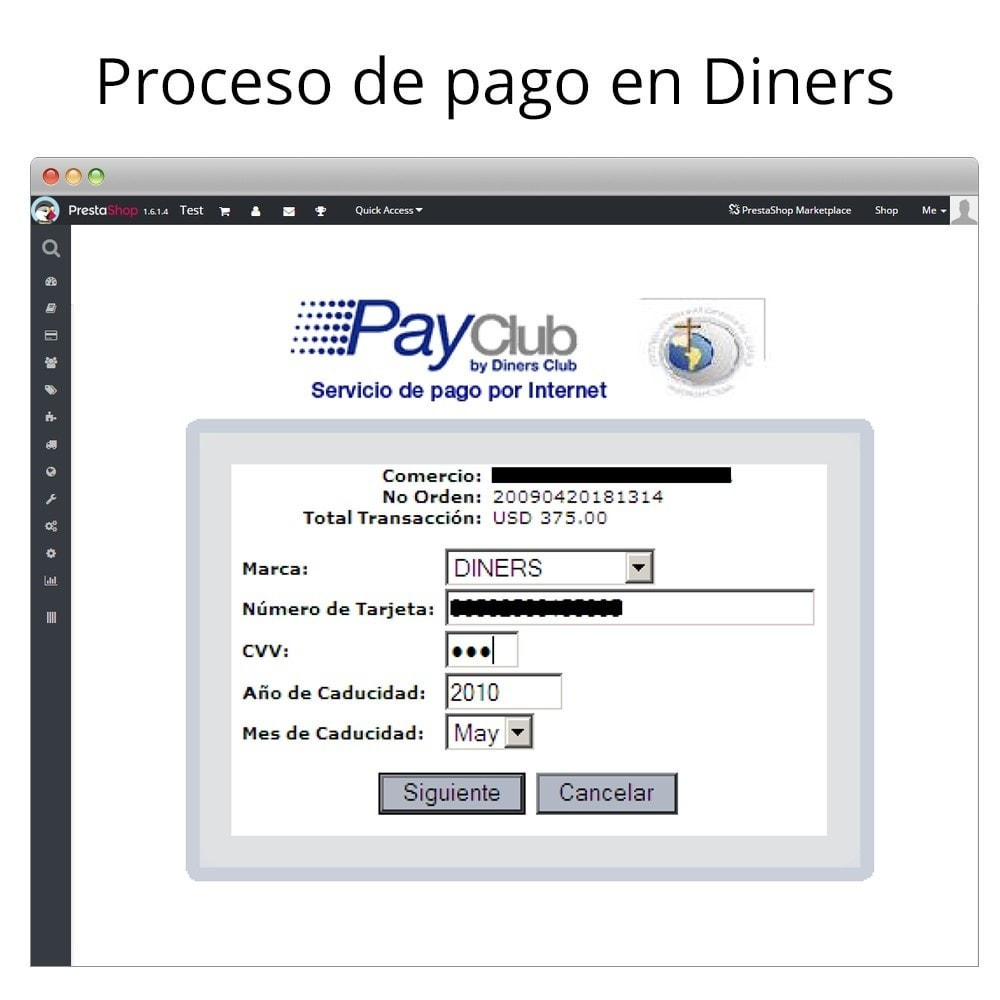 module - Paiement par Carte ou Wallet - Interdin PayClub By Diners Club - 5
