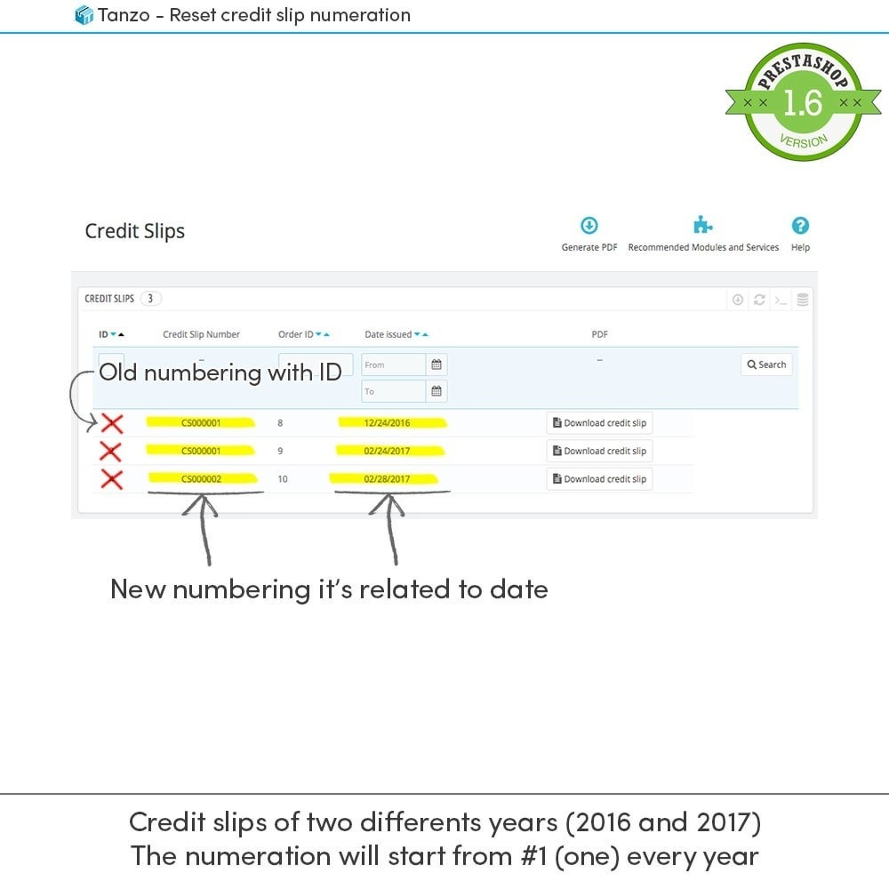 module - Accounting & Invoicing - Reset credit slip numbering - 3