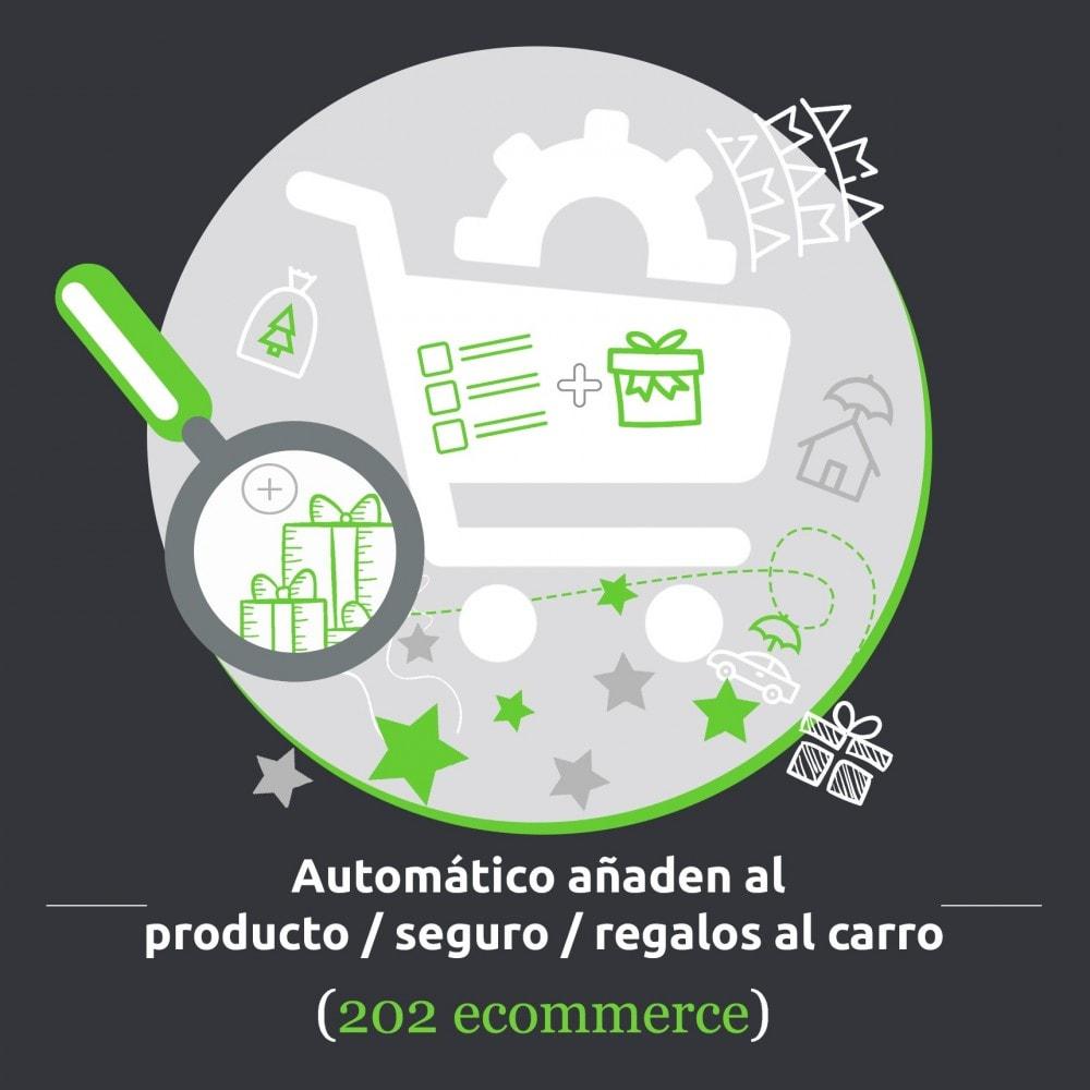 module - Inscripción y Proceso del pedido - Automático añaden al producto/ seguro/ regalos al carro - 1