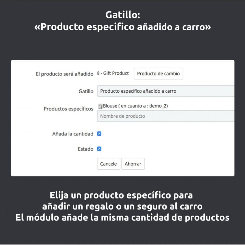 module - Inscripción y Proceso del pedido - Automático añaden al producto/ seguro/ regalos al carro - 6