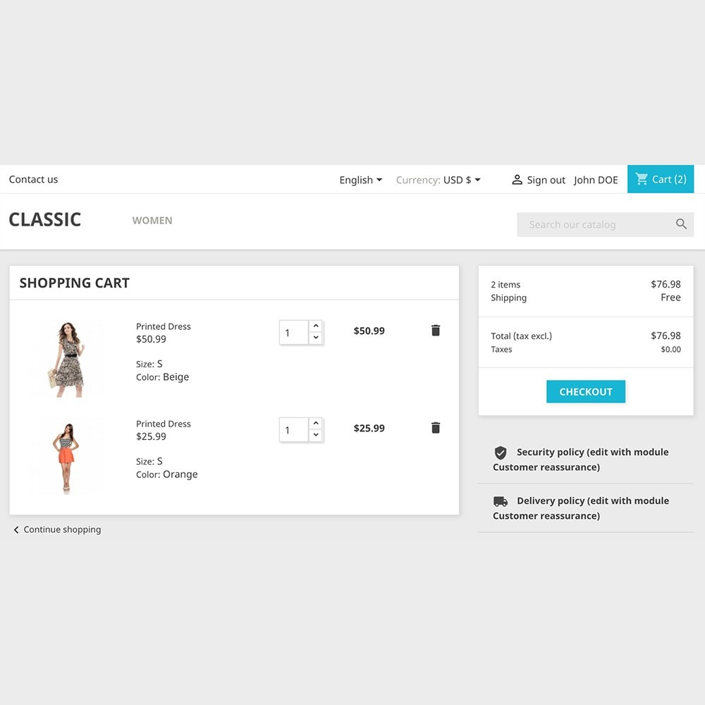 module - Bloques, Pestañas y Banners - Shopping cart - 1