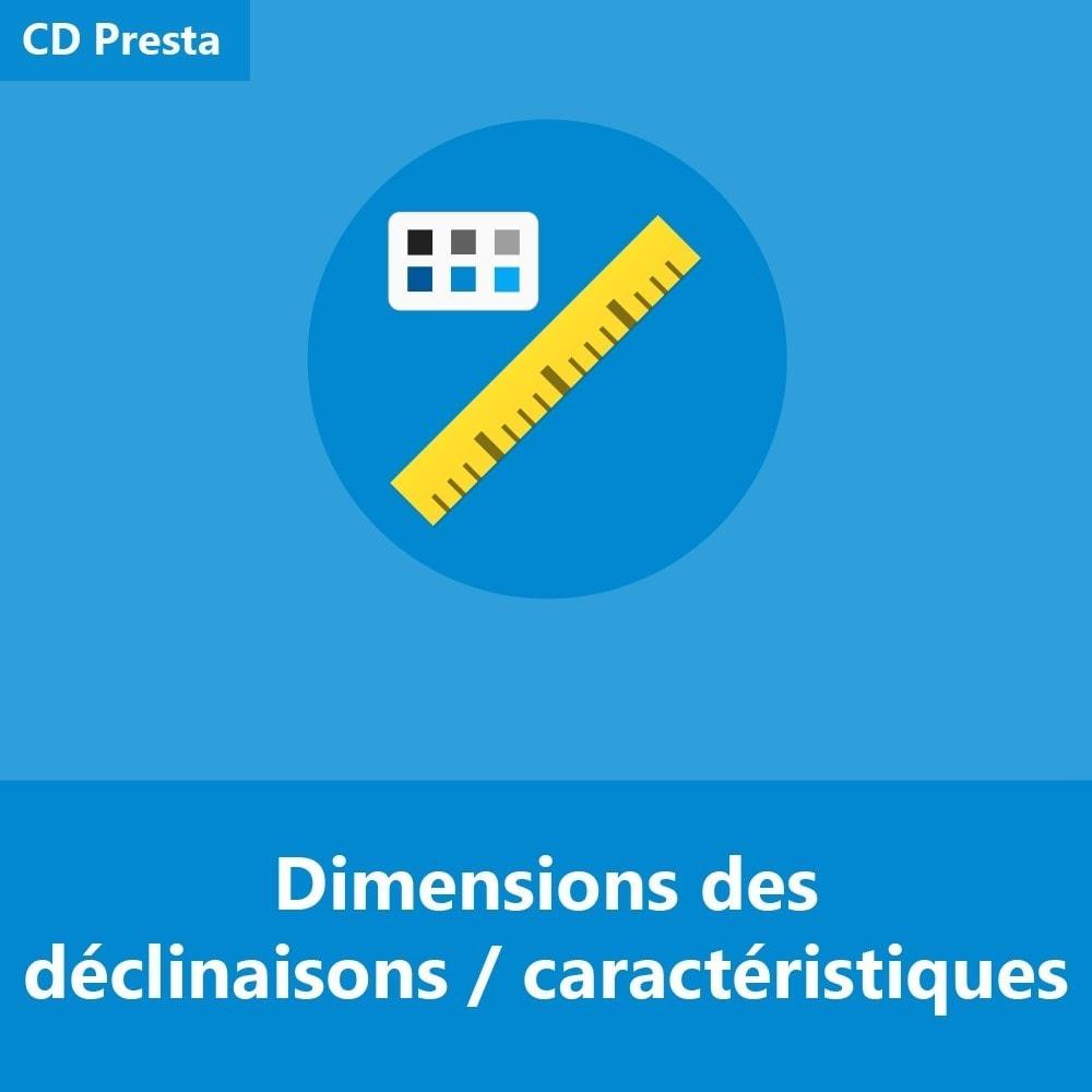 module - Tailles & Dimensions - Dimensions des déclinaisons/caractéristiques de produit - 1